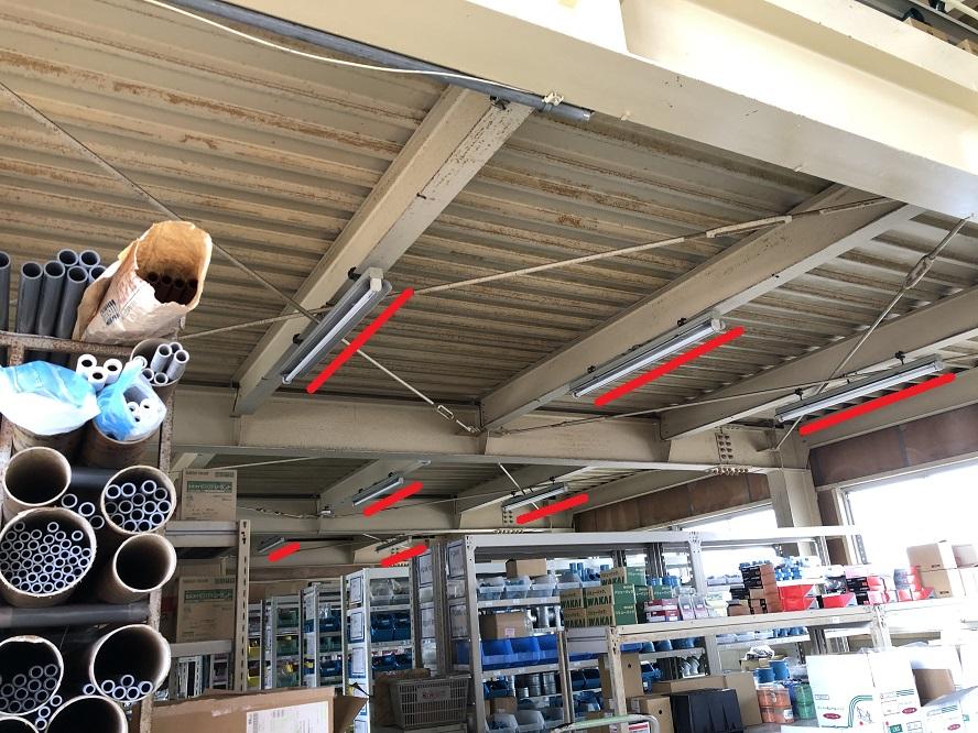 三重県四日市市の倉庫にてLED照明器具への更新電気工事